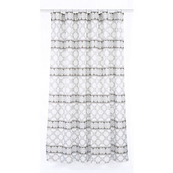 LJ Home Fashions Vogue Geometric Fabric Shower Curtain Liner Ring Set (14-Piece) White/Brown