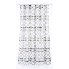 Vogue Geometric Fabric Shower Curtain Liner Ring Set (14 pieces) White/Brown
