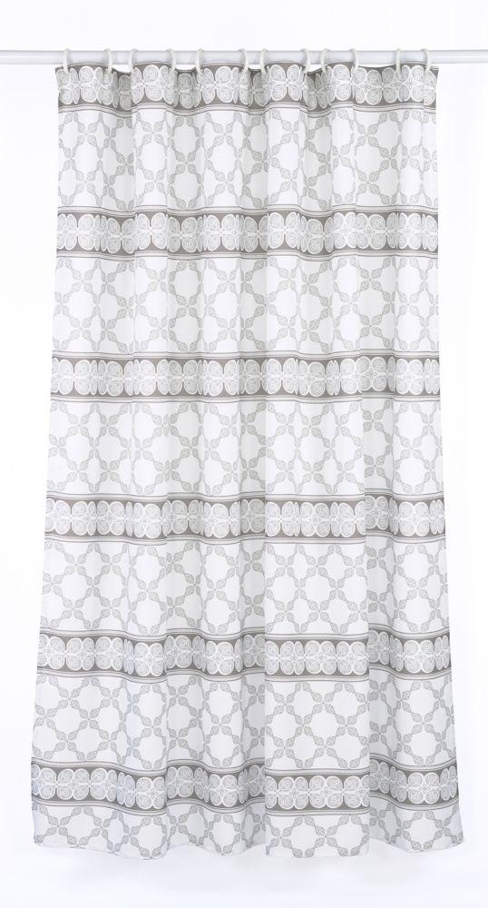 Vogue 14-Piece Shower Curtain Set, White/Brown