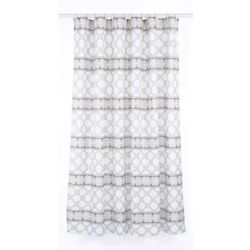 Vogue Geometric Fabric Shower Curtain Liner Ring Set 14 Pieces White Brown