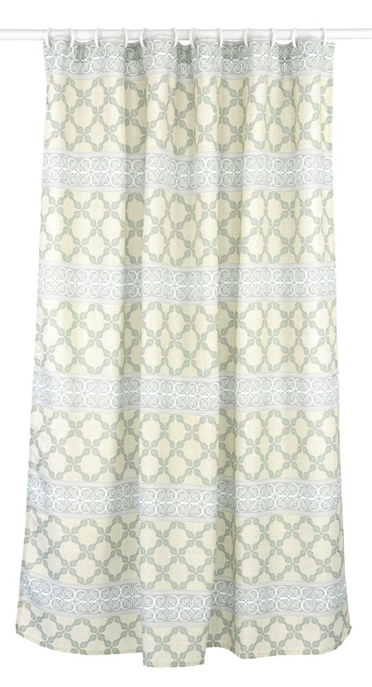 LJ Home Fashions Vogue Geometric Fabric Shower Curtain Liner Ring