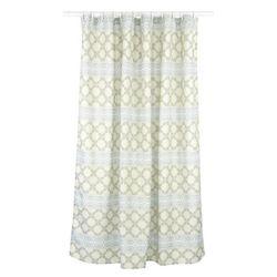 Vogue Geometric Fabric Shower Curtain Liner Ring Set 14 Pieces Linen Grey