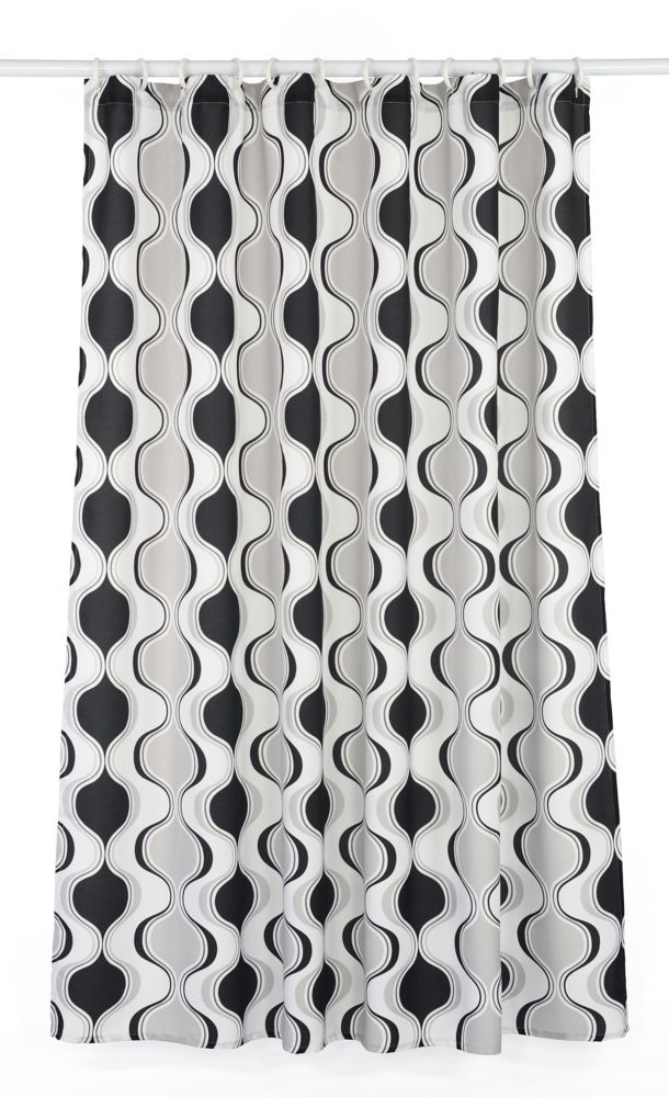 Aquarius Geometric Hourglass 14-Piece Shower Curtain Set, White/Black/Grey