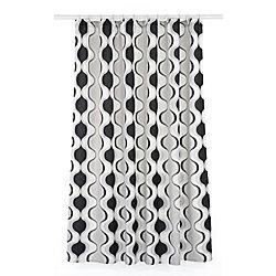 LJ Home Fashions Aquarius Geometric Fabric Shower Curtain Liner Ring Set (14-Piece) White/Black/Grey