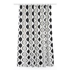 Aquarius Geometric Fabric Shower Curtain Liner Ring Set (14 pieces) White/Black/Grey