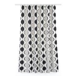 LJ Home Fashions Aquarius ensemble de rideau de douche à motif géométrique (14 pièces), blanc/noir/gris