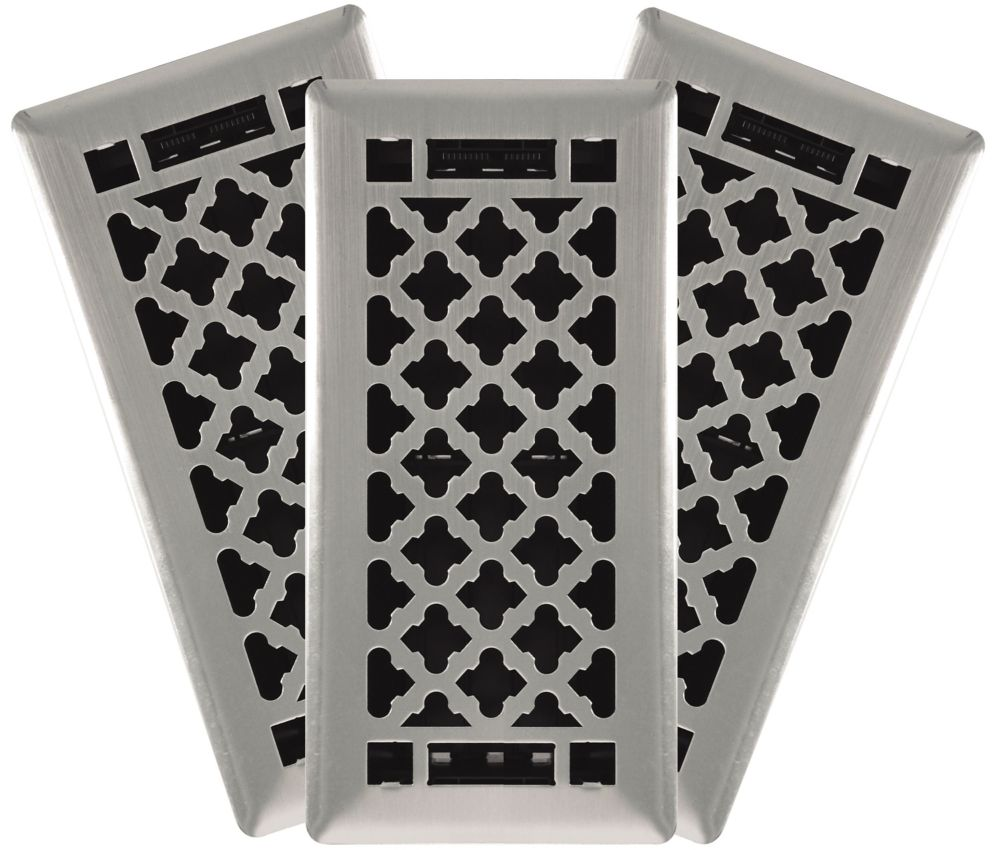 4-in. x 10-in. Designer Quatrefoil Steel Floor Register in Brushed Nickel (3-Pack)