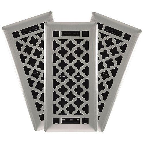 Hampton Bay 4-in. x 10-in. Designer Quatrefoil Steel Floor Register in Brushed Nickel (3-Pack)