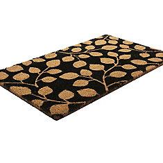 Leaf Me Alone Brown 1 ft. 6-inch x 2 ft. 6-inch Indoor/Outdoor Rectangular Coir Door Mat