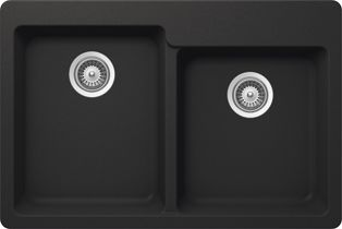 GB Kit Sink 1.75 Bowls Dual Mnt Onyx