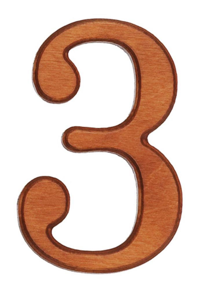 Wood Numbers, Honey Gold 4 Inches #3