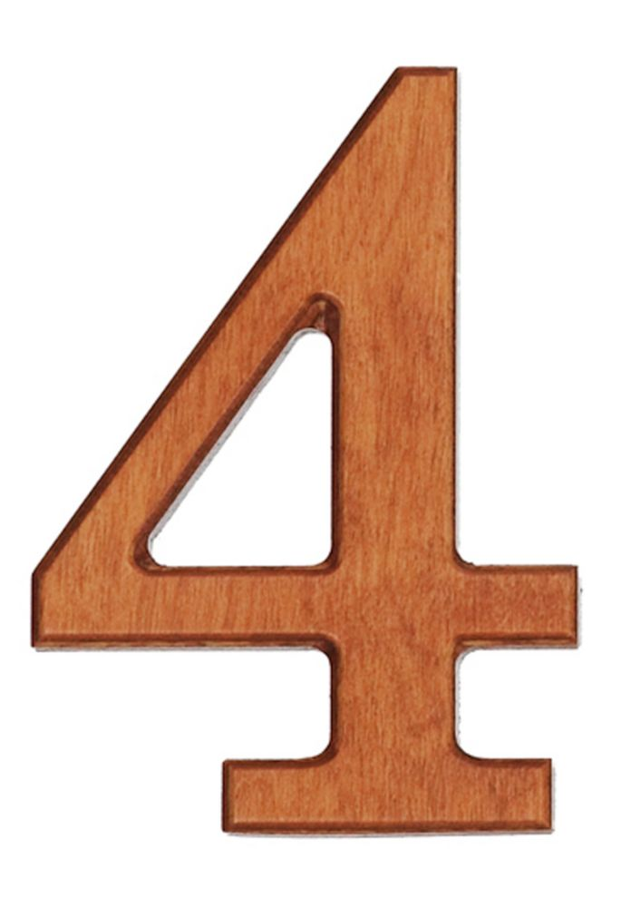 Wood Numbers, Honey Gold 4 Inches #4