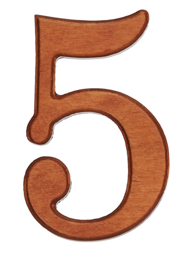 Wood Numbers, Honey Gold 4 Inches #5