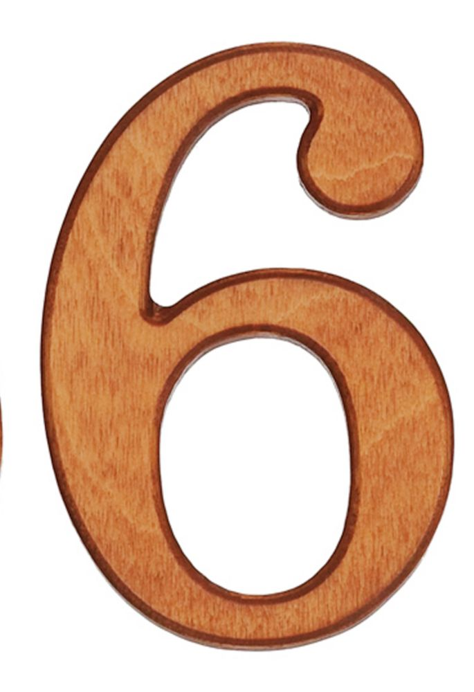 Wood Numbers, Honey Gold 4 Inches #6