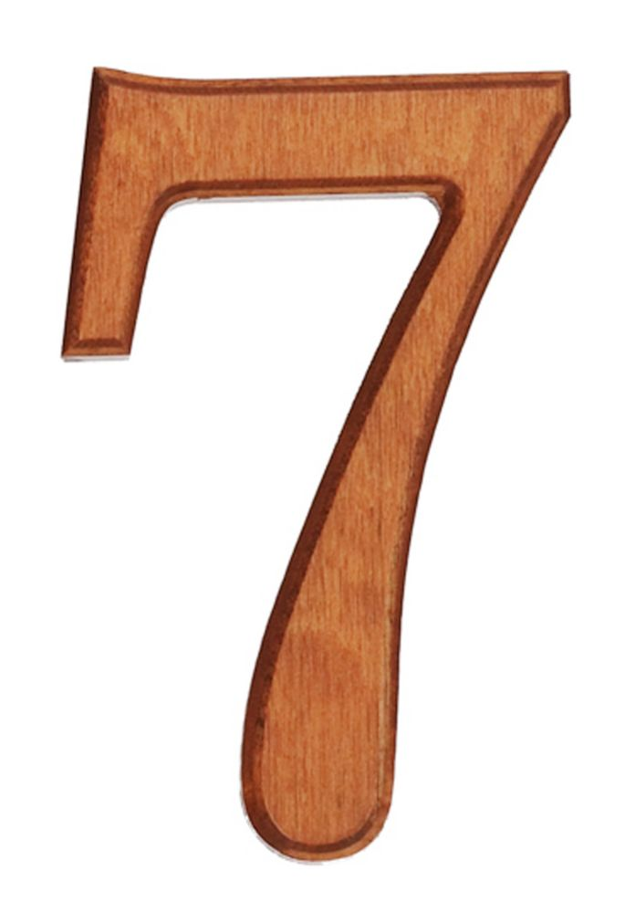Wood Numbers, Honey Gold 4 Inches #7