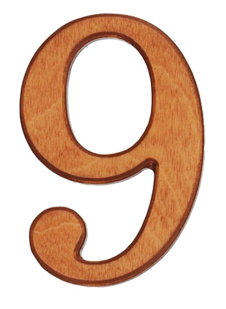 Wood Numbers, Honey Gold 4 Inches #9