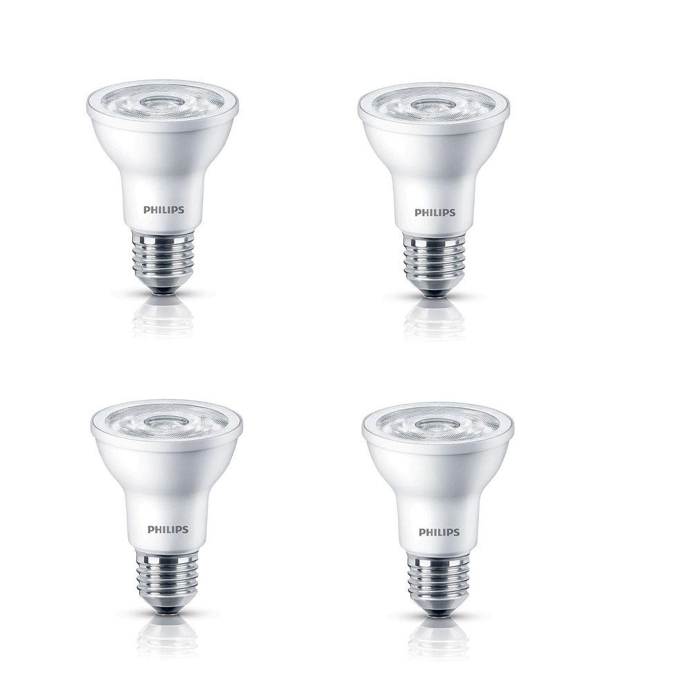PAR20 DEL à faisceau projecteur d'intérieur 6 W  - Lumière blanc doux 2 700 K - Cas de 4 Ampoules