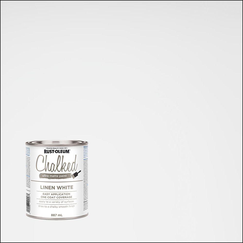 chalk paint home depot Rust Oleum Chalked 887 mL Ultra Matte Paint in Linen White | The  chalk paint home depot