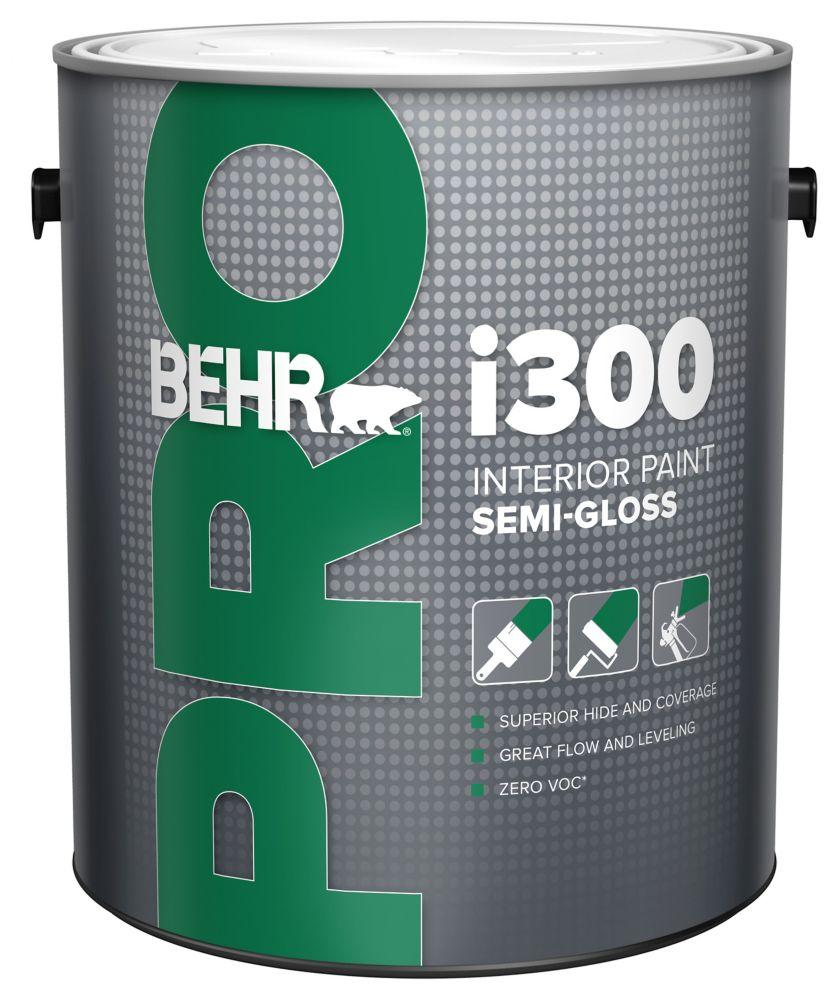 BEHR PRO Série i300, Peinture intérieure semi-brillante - Base foncée, 3,79 L