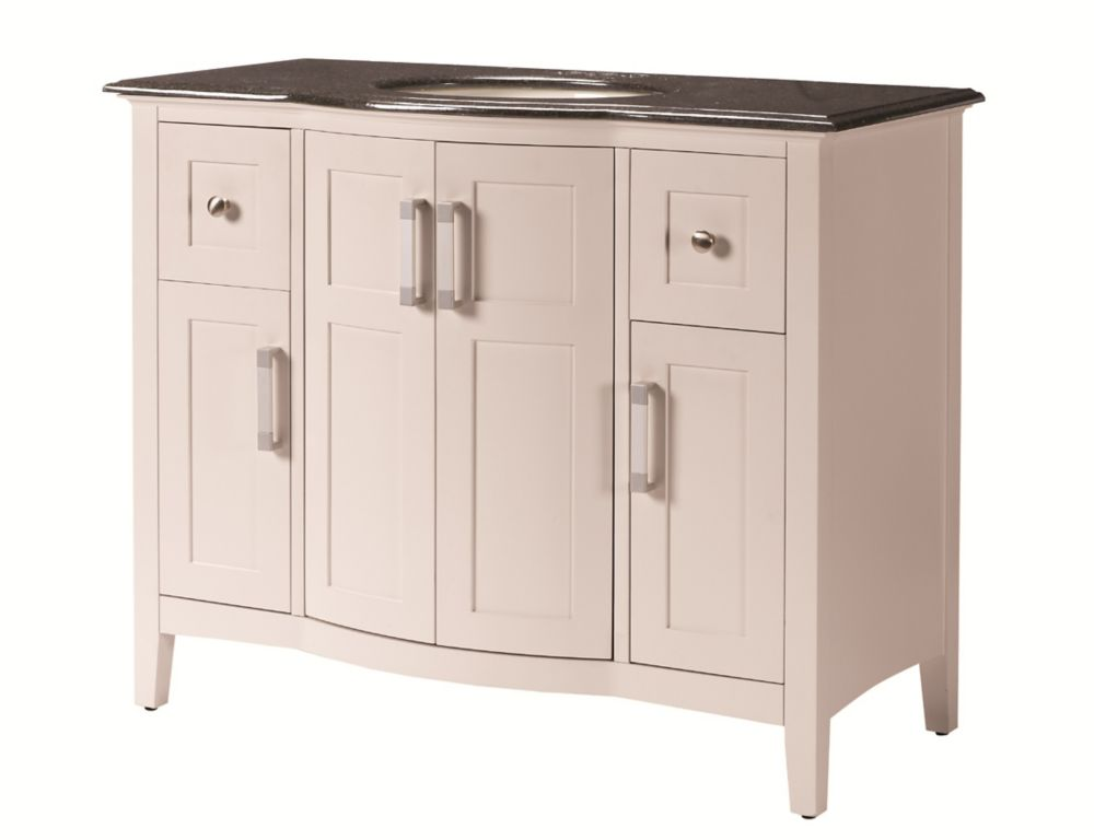 43-inch W Vanity with Granite Top in Black and Undermount Sink