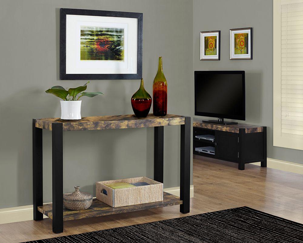 monarch specialties table console 48 l noir style vieux bois vieilli home depot canada. Black Bedroom Furniture Sets. Home Design Ideas