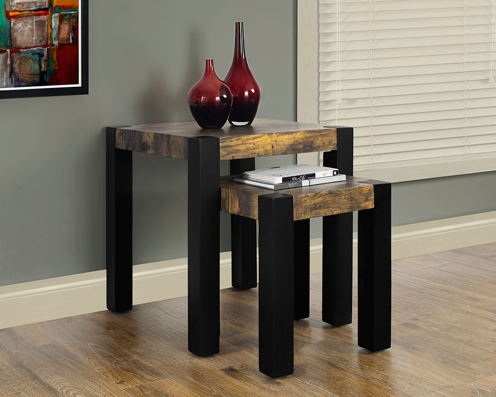 Distressed Reclaimed-Look / Black 2Pcs Nesting Table Set