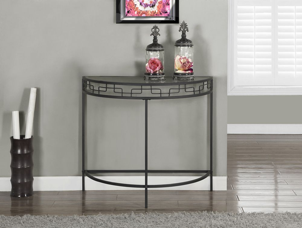 """Charcoal Grey Metal 36""""L Hall Console Accent Table"""