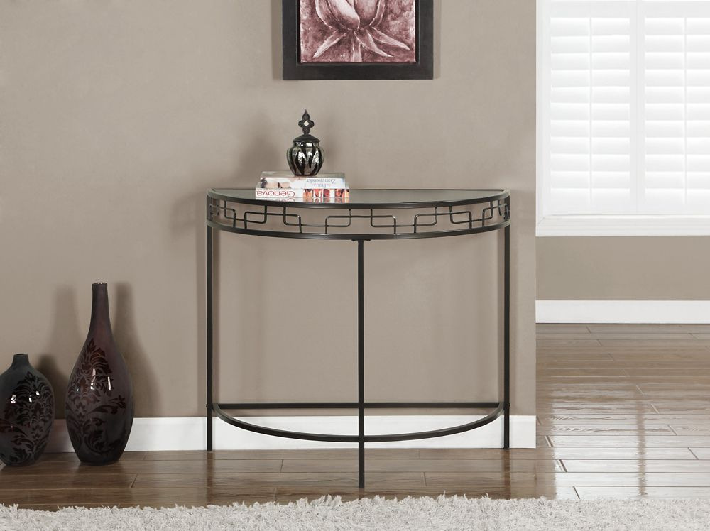 "Chocolate Brown Metal 36""L Hall Console Accent Table"