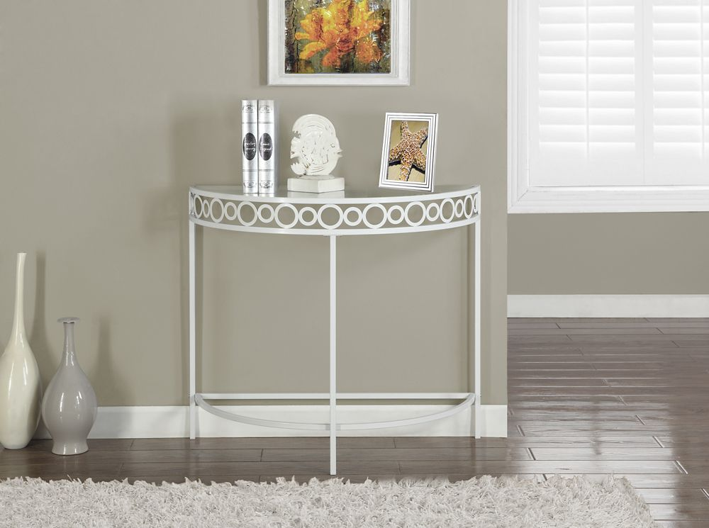 """White Metal 36""""L Hall Console Accent Table"""