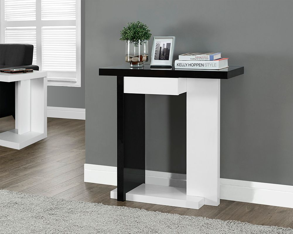"Glossy White / Black 32""L Hall Console Accent Table"