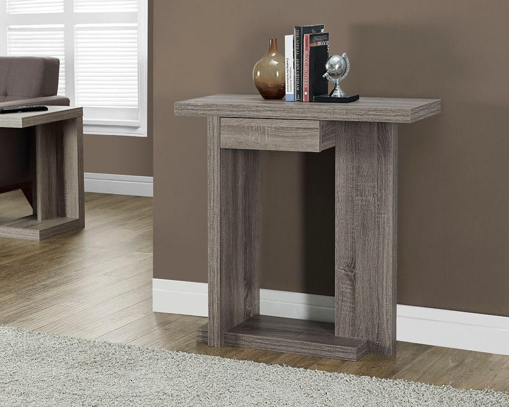 "Monarch Specialties 32"" Long Hall Console Table with a Drawer in Dark Taupe"