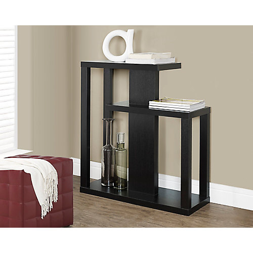 """32"""" Long Hall Console Table with Two Shelves in Cappuccino"""