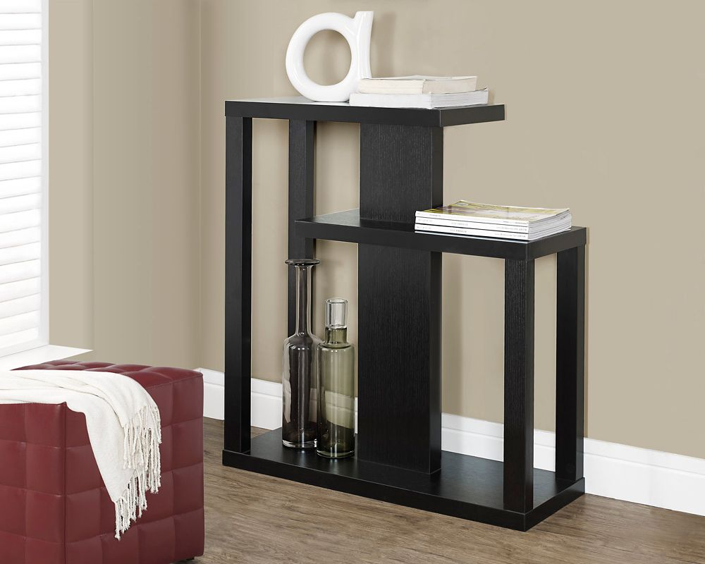 """Monarch Specialties 32"""" Long Hall Console Table with Two Shelves in Cappuccino"""