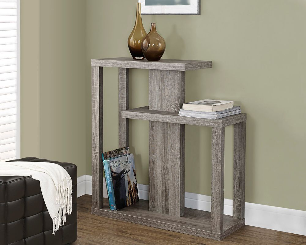 "Monarch Specialties 32"" Long Hall Console Table with Two Shelves in Dark Taupe"