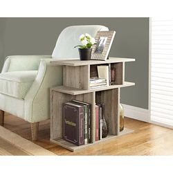 """Monarch Specialties Dark Taupe Reclaimed-Look 24""""H Accent Side Table"""