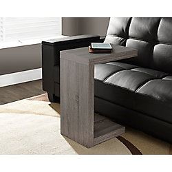 Monarch Specialties Dark Taupe Reclaimed-Look Hollow-Core Accent Table