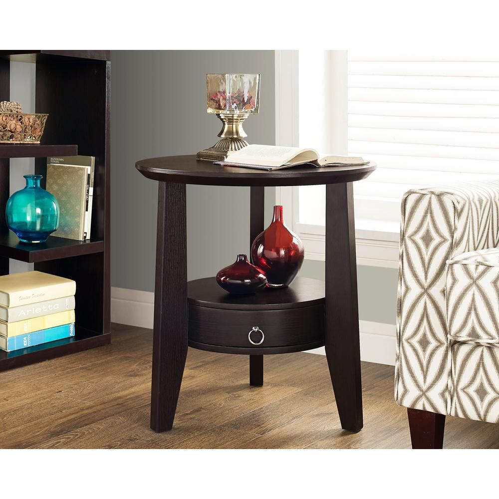 """Cappuccino 23""""Dia Accent Table With 1 Drawer"""