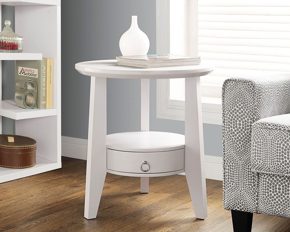 """White 23""""Dia Accent Table With 1 Drawer"""