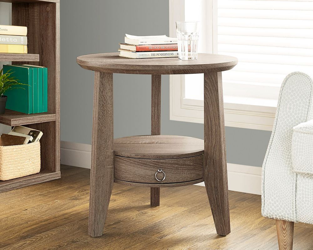"""Monarch Specialties Dark Taupe Reclaimed-Look 23""""Dia Accent Table / 1 Drawer"""