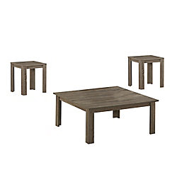 Monarch Specialties Dark Taupe Reclaimed-Look 3-Piece Square Table Set