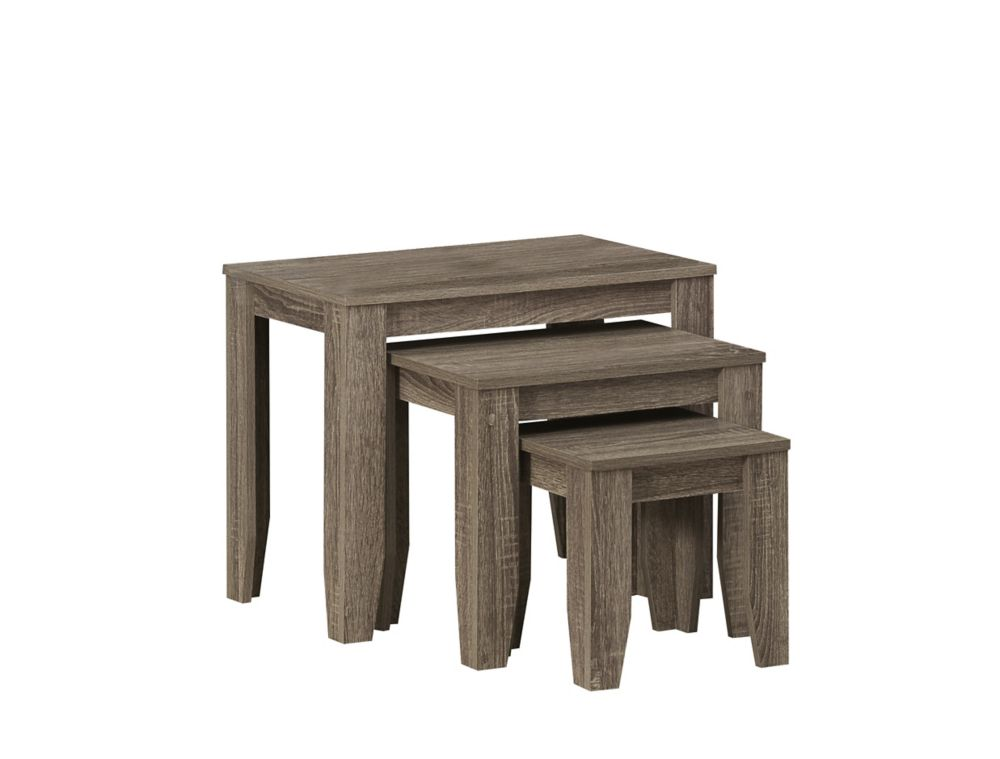 Dark Taupe Reclaimed-Look 3Pcs Nesting Table Set