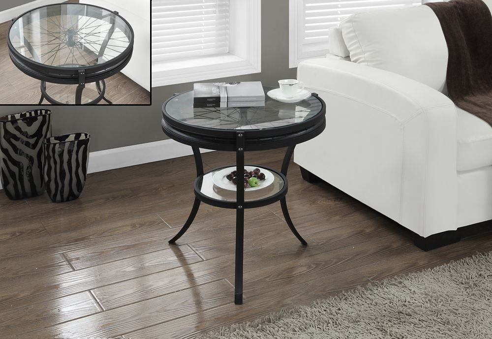 """Hammered Black 20""""Dia Accent Table With Tempered Glass"""