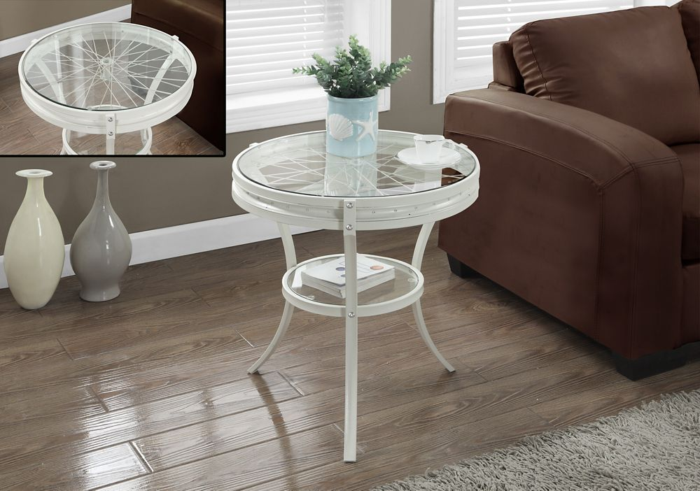 """Table D'Appoint - 20""""Dia / Metal Blanc / Verre Trempe"""