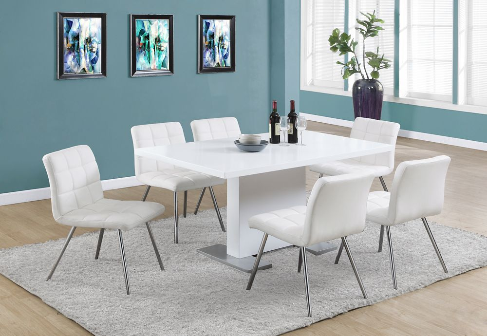 Monarch Specialties 35 Inch W X 60 L Dining Table In High Glossy White