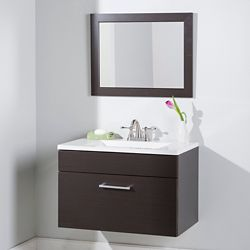 St. Paul Firenze 30.25 Inch. Vanity in Espresso with Vanity top in White and Mirror