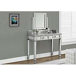 "Monarch Specialties Brushed Silver / Mirrored 36""L Vanity With 2 Drawers"