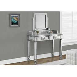 """Monarch Specialties Brushed Silver / Mirrored 36""""L Vanity With 2 Drawers"""