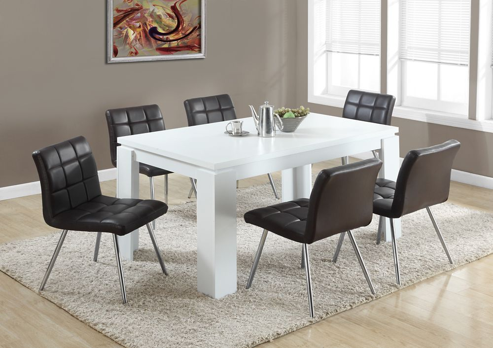 """White Hollow-Core 36""""X 60"""" Dining Table"""