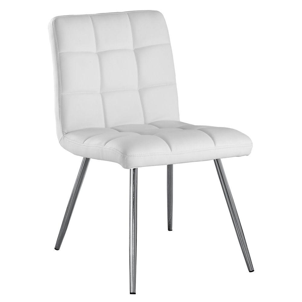 """Chaise - 2Pcs / 32""""H / Simili-Cuir Blanc / Metal Chrome"""