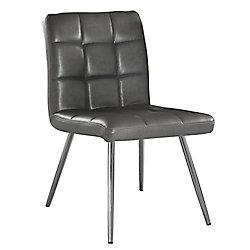 Monarch Specialties Chaise sans accoudoirs à dossier à traverses, cuir et métal chromé, siège similicuir gris, ens. de 2
